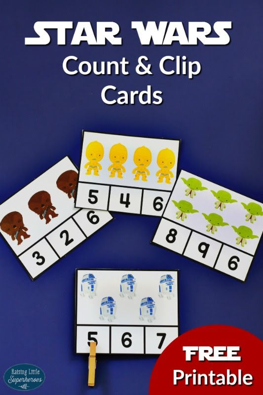 Celebrate Stars Wars Day with these Star Wars Count and Clip Cards.  These are a fun way to teach children how to count and develop fine motor skills.  May The Fourth Be With You!