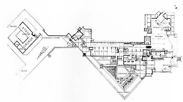 Floor plan of taliesin google search fl wright Frank lloyd wright floor plan