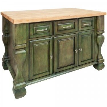 "Tuscan Kitchen Island 52-5/8"" x 32-3/8"" x 35-1/4"" in Aqua Green. By Hardware Resources"