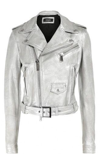 Женская серебряная укороченная куртка из металлизированной кожи с косой молнией Dsquared2, сезон FW 16/17, арт. S75AM0454/SX9862 купить в ЦУМ   Фото №1