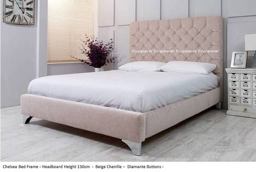 Chelsea Bed Frame. Available in Crush Velvet, Chenille, Linen or Faux Suede Fabrics - Esupasaver