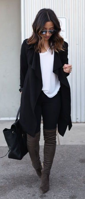 #fall #fashion / black oversized cardigan + tee
