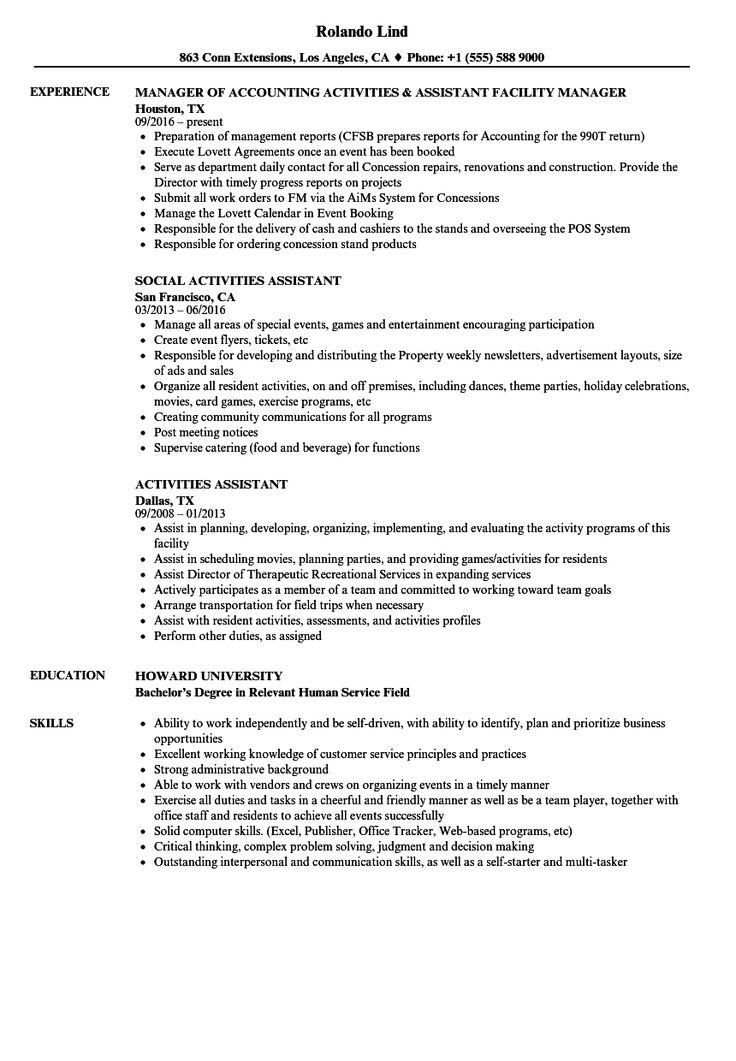 Resume Examples Activities Resume examples, Resume