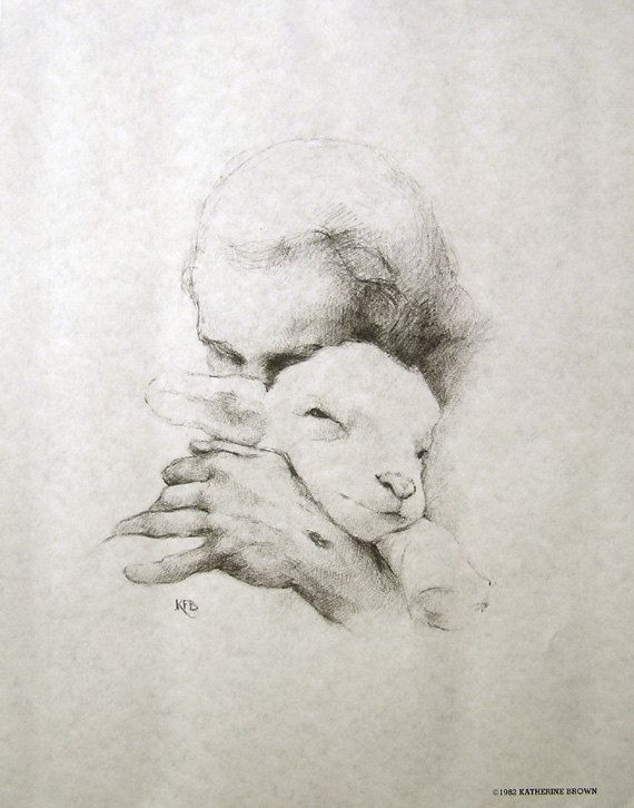 Jesus and the Lamb  14x11 Pencil Sketch Unframed by WeeBluegrass