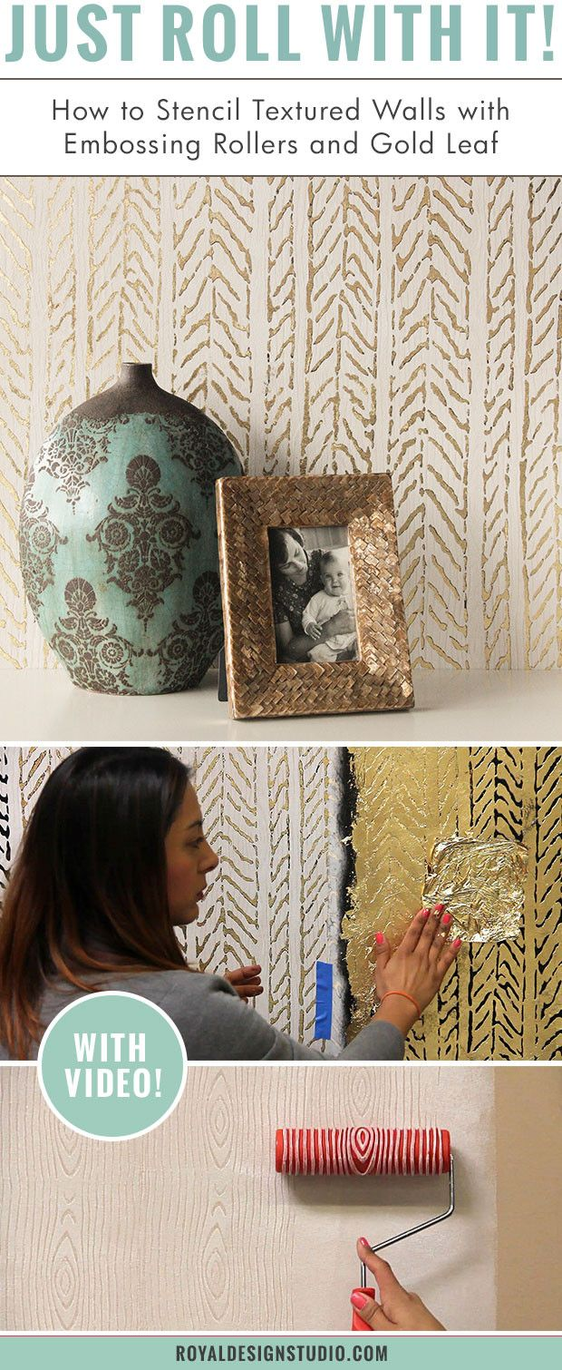 Best 25 textured paint rollers ideas on pinterest textured wall how to stencil textured walls with embossing roller gold leaf amipublicfo Images