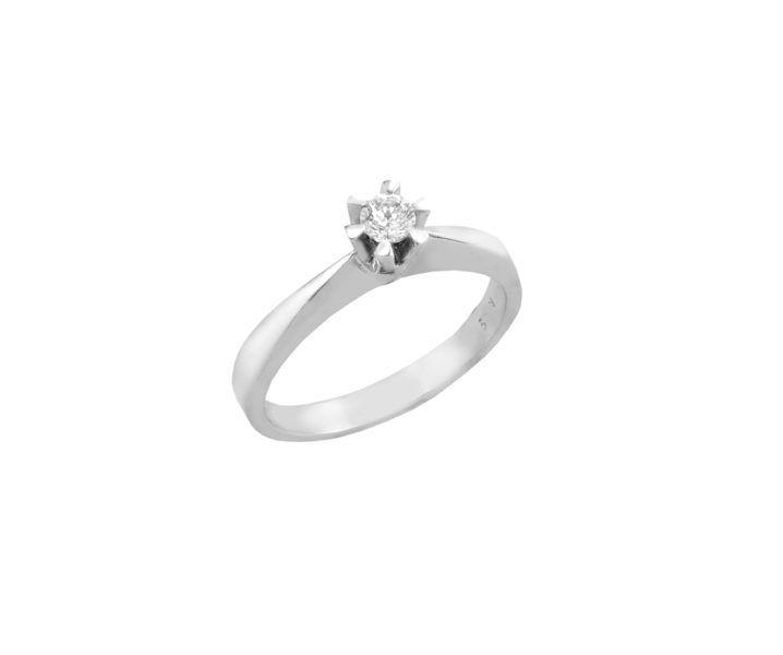 Μονόπετρο δαχτυλίδι Al'oro  Κ18 λευκόχρυσο διαμάντι ZL497