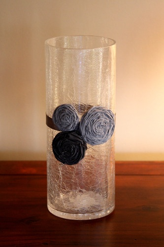 Rosette flower vase decoration - great idea for weddings, showers or home decor