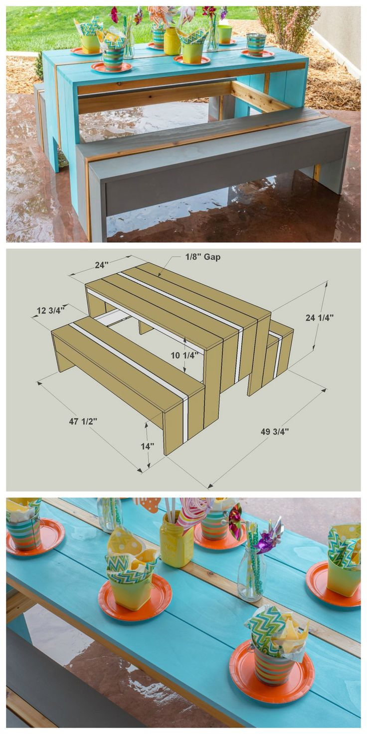 Diy kids 39 picnic table get the free plans for this for Picnic boat plans