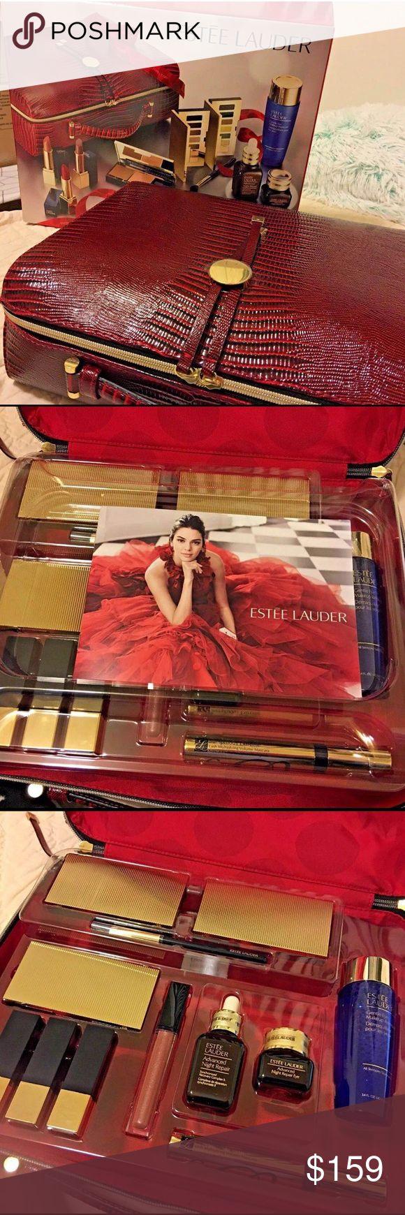 NWT Estée Lauder 13pc makeup set 12 Full size 1.Advanced night repair 30ml2.Advanced night repair eye gel creme 15ml3.pure color envy eyeshadow  palettes- day (7color)4.pure color envy eyeshadow  palettes- night (7color)5.Pure color envy blush palette (with bronzer+luminizer)6.sumptuous extreme mascara7. Eye makeup remover100ml8. Eyeshadow brush9.Pure color envy lipstick vengeful red10.Pure color envy lipstick irresistible11.Pure color envy lipstick insatiable ivory12.Pure color envy lip…