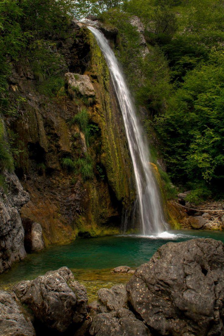 Little and hidden waterfall near Lake Ampola, Valle di Ledro, Trentino-Alto Adige, Italy