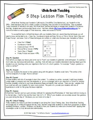 Whole Brain Teaching: Lesson Plan Template From The Reflective Educator On  TeachersNotebook.com (