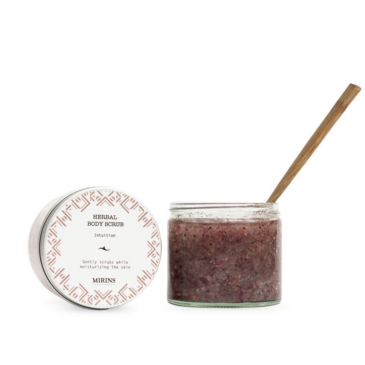 Body Scrub - Intuition - Patchouli, Rosewood Dead Sea Salt gently scrubs away dead skin while the oils and herbs moisturize and enhance.  Our Intuition aromatherapy line consists of a warming blend of Patchouli, Rosewood and Geranium essential oils.  Apply scrub in circular motion, then rinse.