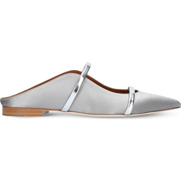 MALONE SOULIERS Maureen satin backless flats ($560) ❤ liked on Polyvore featuring shoes, flats, slip-on shoes, pointed toe shoes, pointy-toe flats, pointed toe flats and flat slip on shoes