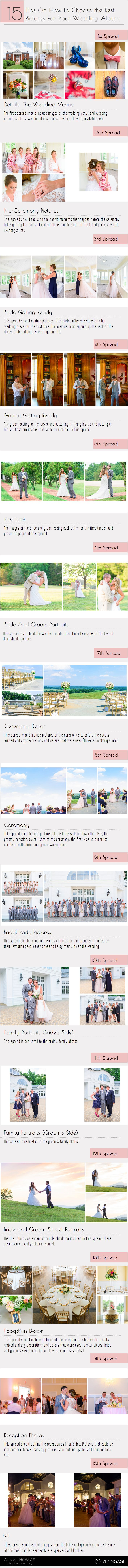 FREE Download: https://alinathomas.com/wedding-album-guide-free-download   How to choose the perfect pictures for your wedding album.   Wedding album infographic for photographers by Alina Thomas Photography   www.alinathomas.com