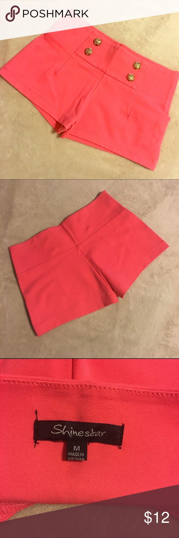 Women's Coral High-Waist Shorts- M High-waisted military-style shorts with gold buttons on front. Stretch material. New without tags. Shinestar Shorts