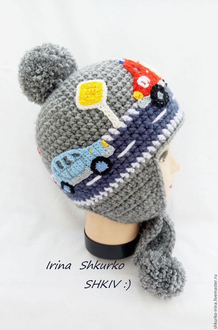 """Купить """"Пожарная машина"""". зимняя шапка, связана крючком. - комбинированный, шапка зимняя, шапка крючком"""