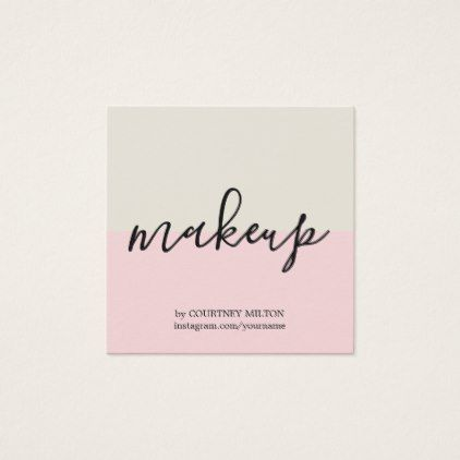 Simple Elegant Pastel Makeup Artist Square Business Card - simple clear clean design style unique diy