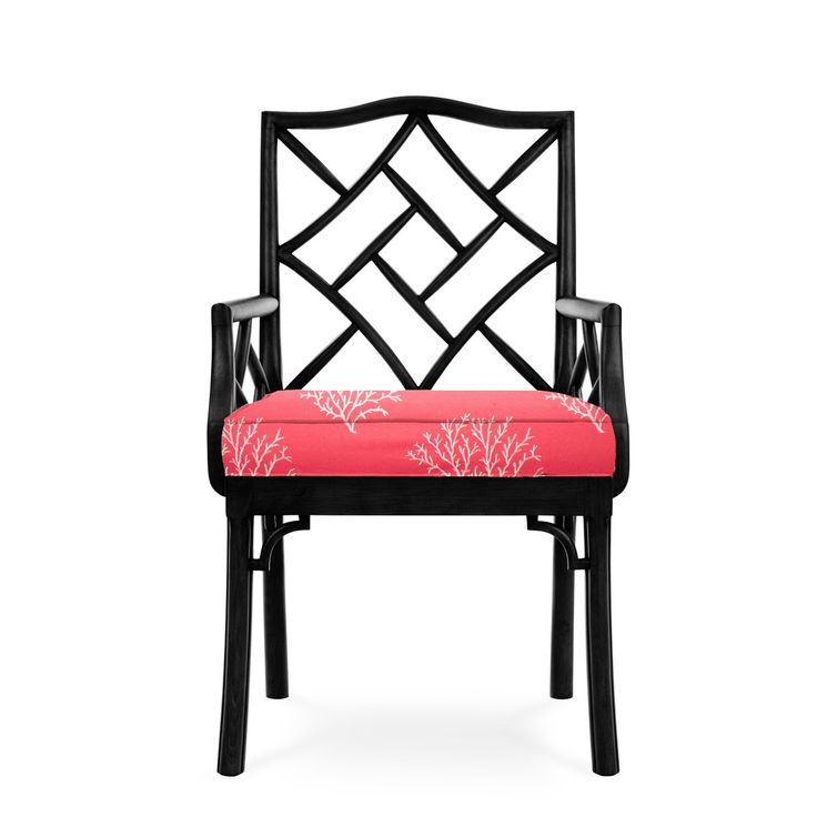 James Chinese Chippendale Arm Chair, Black Finish, Coral With White Coral Fabric