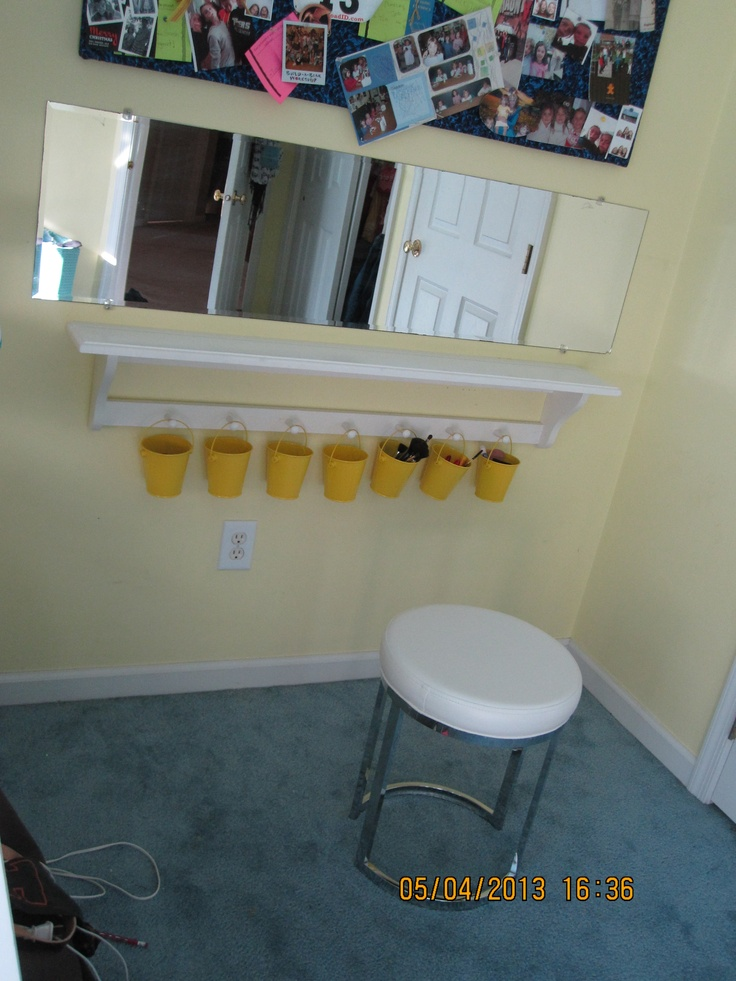 DIY Vanity Makeup Table Out Of Shelf And Mirror Not A Lot Of Wall Floor Spac