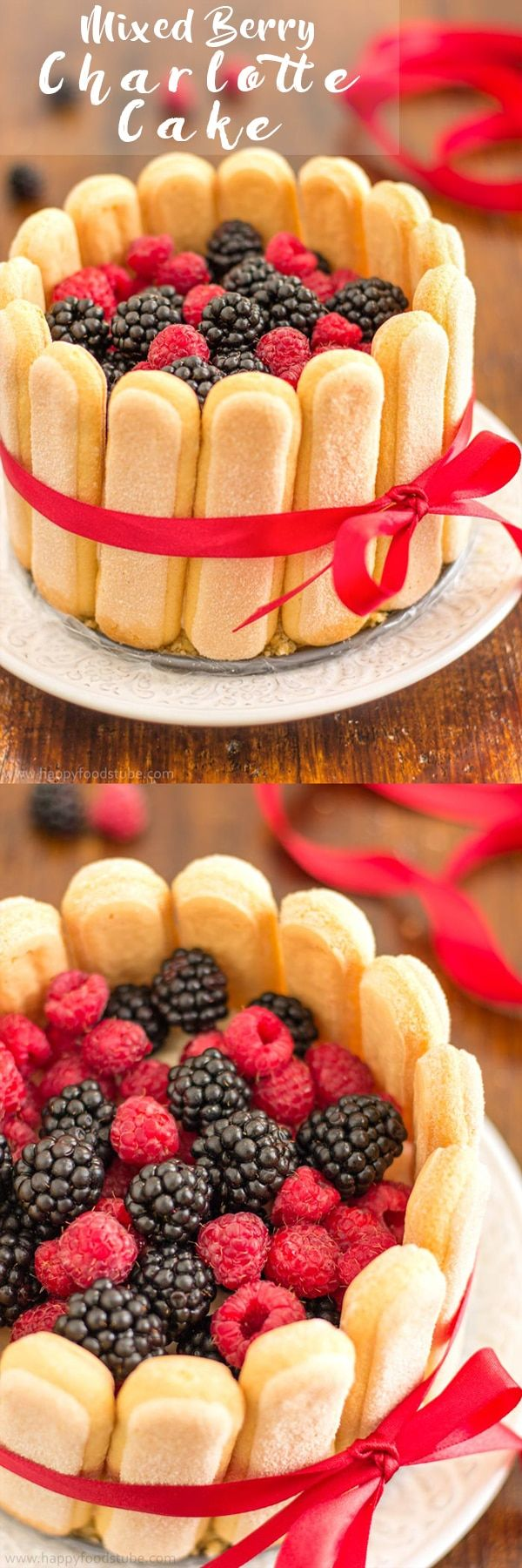 Mixed Berry Charlotte Cake will definitely satisfy your taste buds! Base made of ladyfingers is followed by creamy mascarpone filling and topped with fresh mixed berries! | happyfoodstube.com