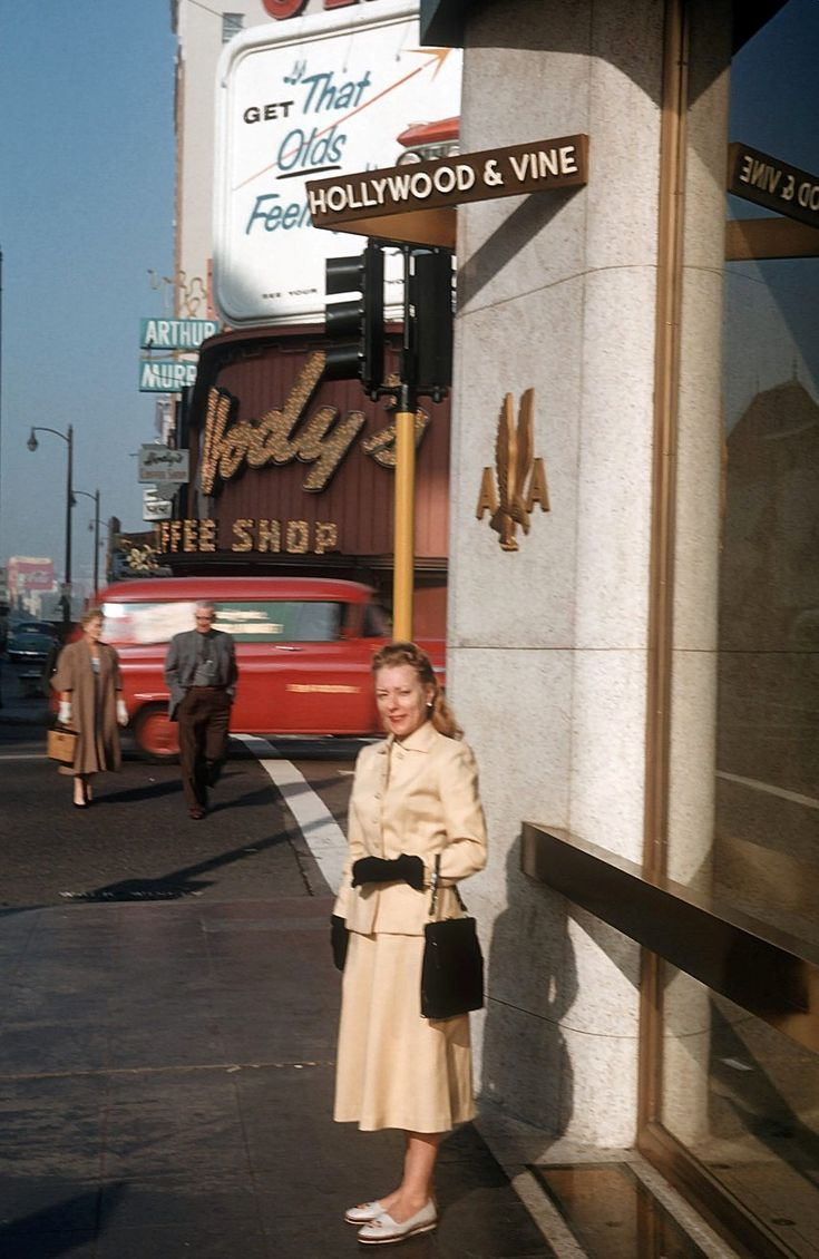 Hollywood and Vine, Los Angeles, CA, 1959-a famous corner. This was how the ladies dressed!