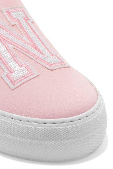 Joshua Sanders - Appliquéd Satin Slip-on Sneakers - Pink - IT41