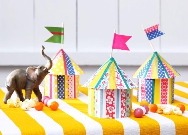 Zirkus zelte diy basteln mit kindern kindergeburtstag for Zirkus dekoration