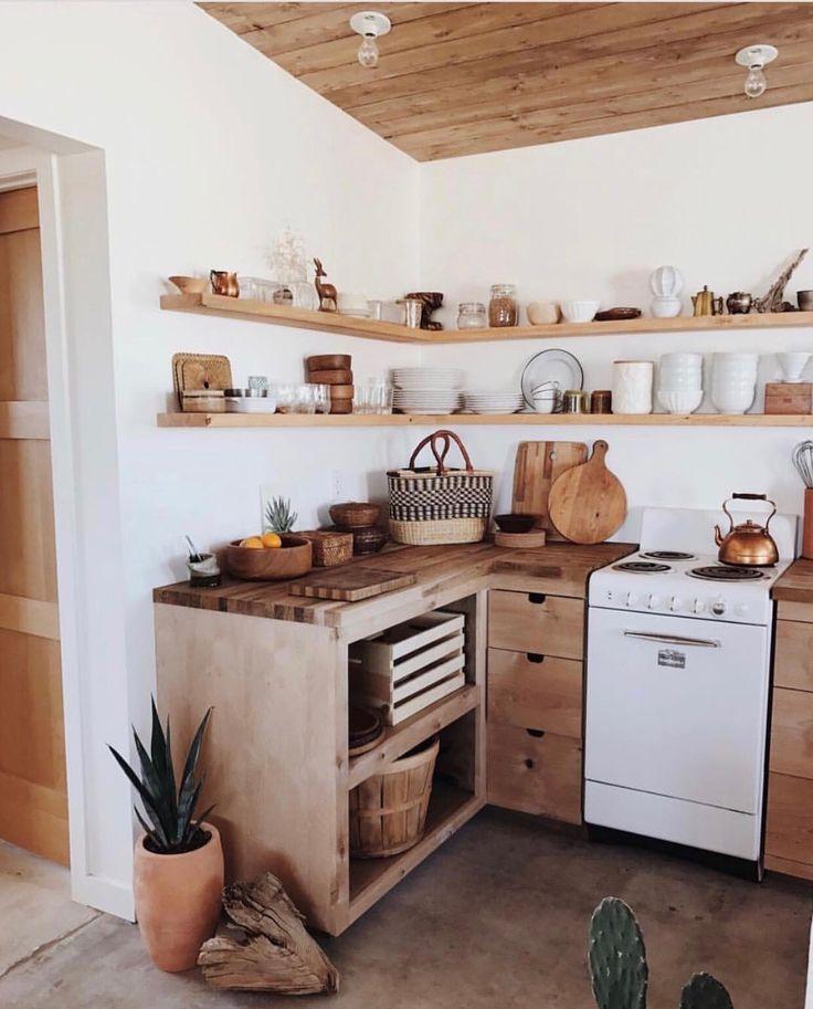 Decoração de idéias de cozinha com decoração de parede de ordem de armazenamento de madeira   – wohnen