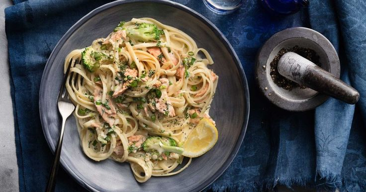 Dinner is served in just 17 minutes with this speedy salmon and broccoli linguine.