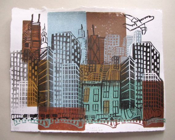 Chicago ChicaOnTheGo Linocut Monoprint  ON SALE by zmedceramics on ETsy