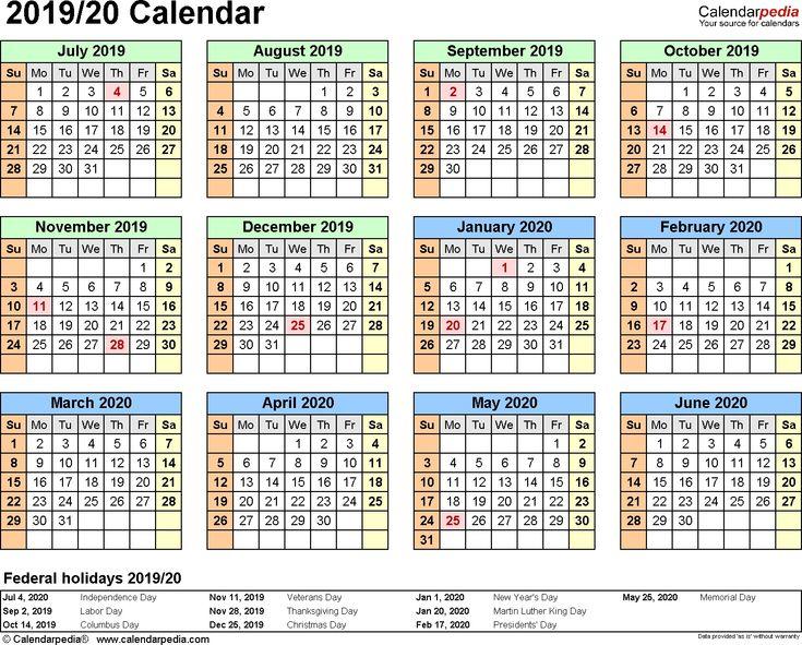 Split Year Calendar 2019/20 (July To June) Word