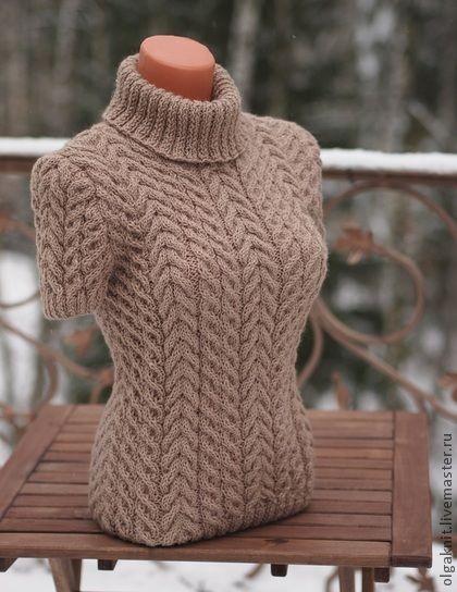 Пуловер светло-шоколадный - коричневый,женский пуловер,теплый пуловер