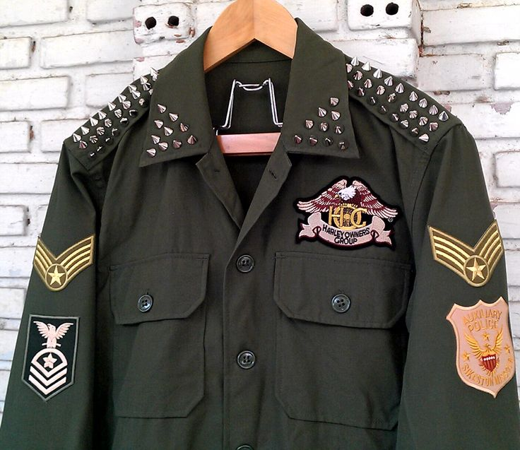 Spring Green Army Jacket / Reworked Studded Vintage Green Army Jacket with Patches / Vintage Military Army Jacket Size: M by KodChaPhornJacket465 on Etsy