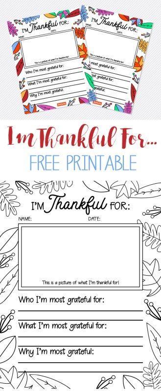Free thankful printable for Thanksgiving