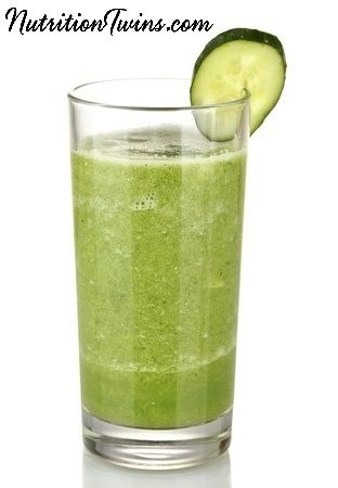 Skinny Green Smoothie | Only 61 Calories | Flushes Bloat, Restores Normal Fluid Balance| Helps body with Natural detoxification process after over-doing it | For MORE RECIPES, Nutrition & Fitness Tips please SIGN UP for our FREE NEWSLETTER www.NutritionTwins.com