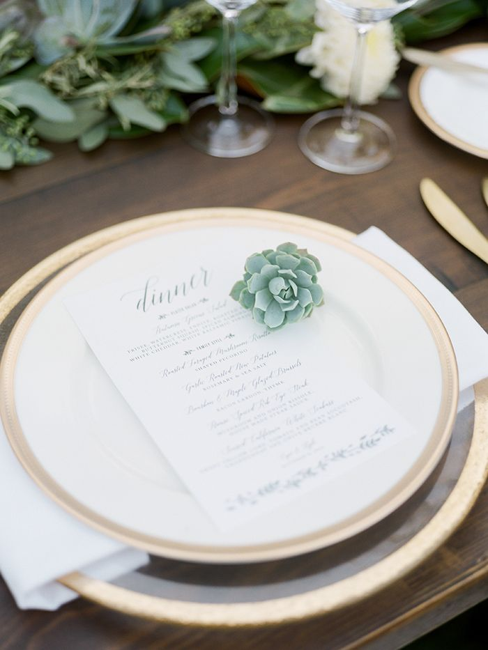 Gold and Greenery Place Setting