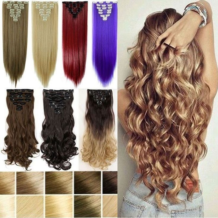 100% Natural 8 Piece Clip in Full Head Hair Extensions Ombre As Human Hair B818