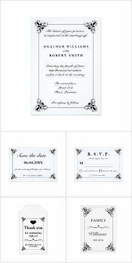 Elegant Black & White Flourish Frame Wedding Set #elegant #wedding