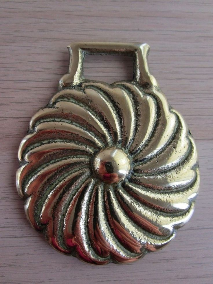 Vintage/Antique Polished Horse Harness Brass Chrysanthemum or Swirl England