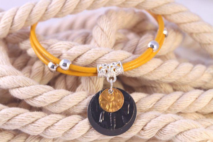 Bracelet cuir jaune / Capsules Nespresso - Argenté et Jaune