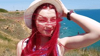 Redhead, red, girl, hat, summer, pale, wind, watch, smile, sea, nature, happy