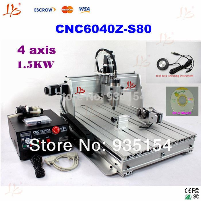 4 Axis CNC 6040Z-S80 CNC router milling machine with 1.5KW VFD spindle for hard material
