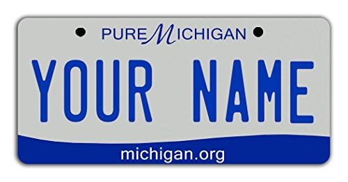 """BleuReign(TM) Personalized Custom Name 2016 Michigan State Bicycle Bike Moped Golf Cart 3""""x6"""" License Plate Tag. For product & price info go to:  https://all4hiking.com/products/bleureigntm-personalized-custom-name-2016-michigan-state-bicycle-bike-moped-golf-cart-3x6-license-plate-tag/"""
