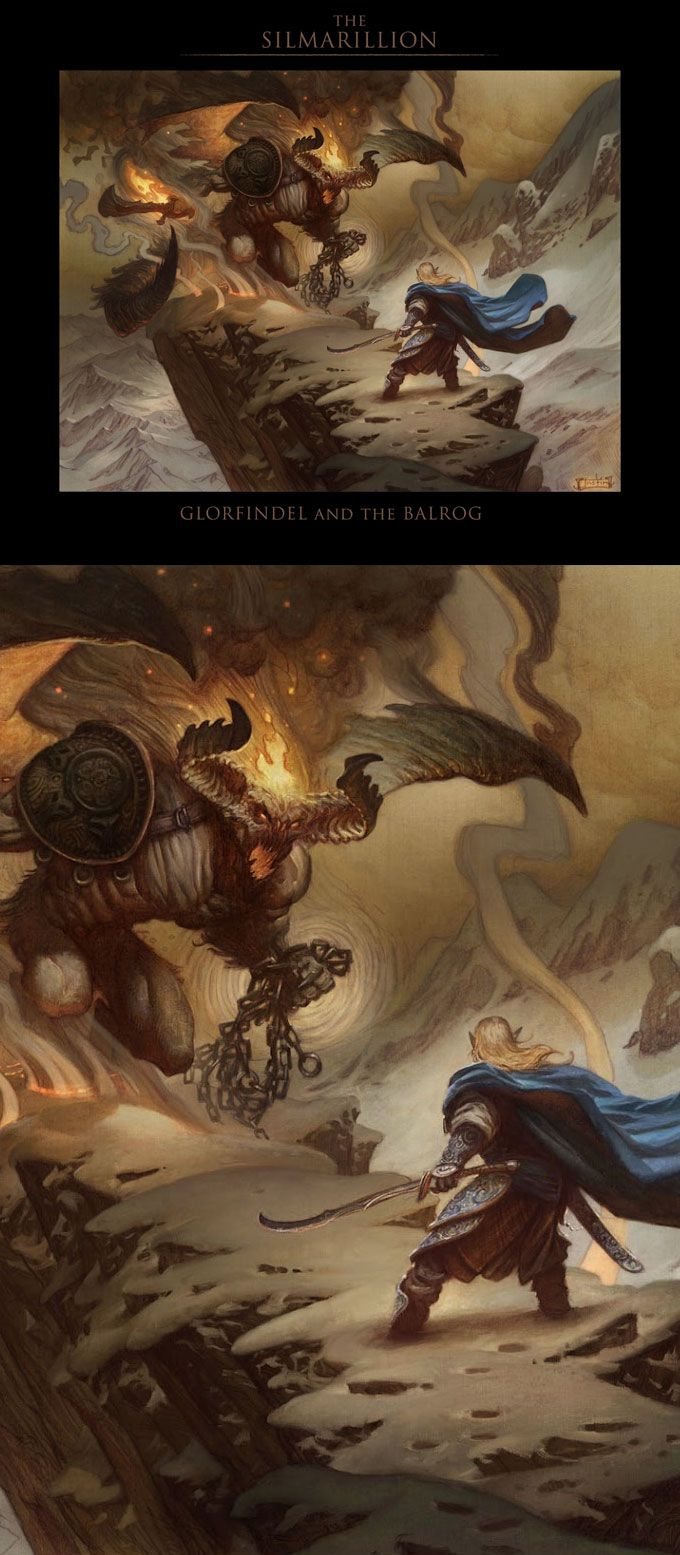 Glorfindel and the Balrog, by Justin Gerard ~ Glorfindel killed the Balrog, by himself, and survived. Unlike Gandalf. Initially.