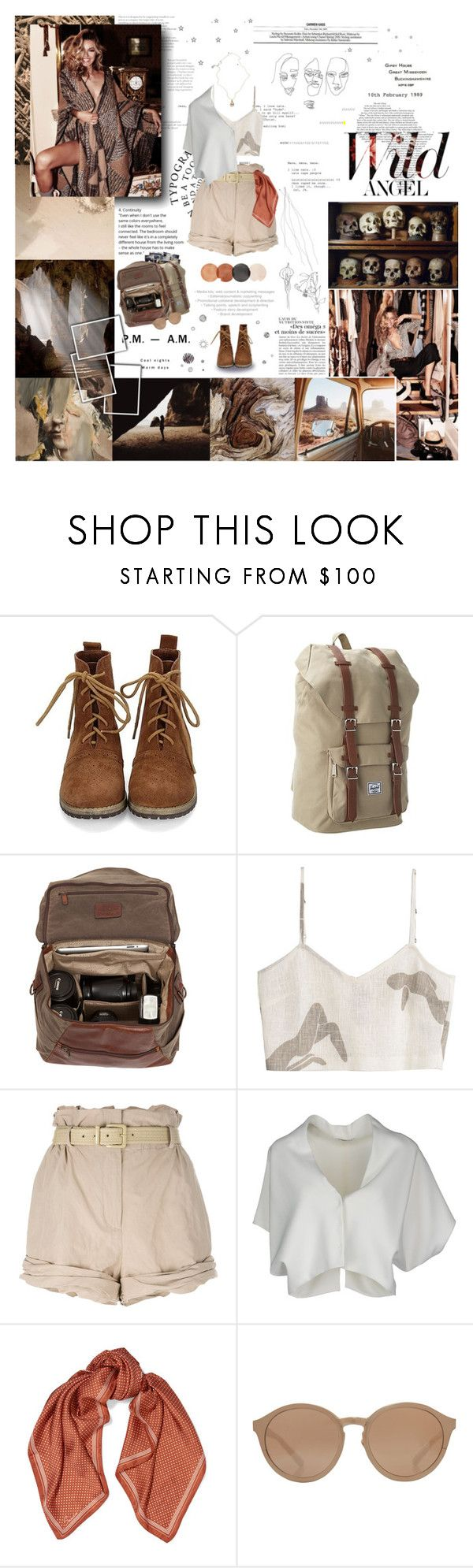 """THE STORY OF THE EARTH."" by hayete ❤ liked on Polyvore featuring Herschel Supply Co., Moore & Giles, Paloma Wool, Moschino, Vionnet, Sandro, Linda Farrow and Jessica de Lotz Jewellery"