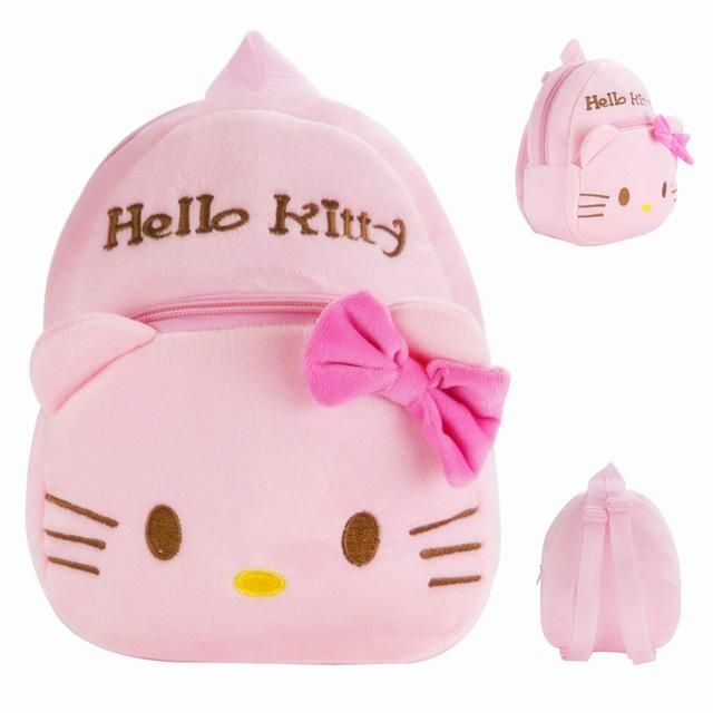2017 New Top Quality Pink Hello Kitty Plush Cartoon Toy Children Backpack School Bag Gift For Kids Age 1-2 Mochila Infantil