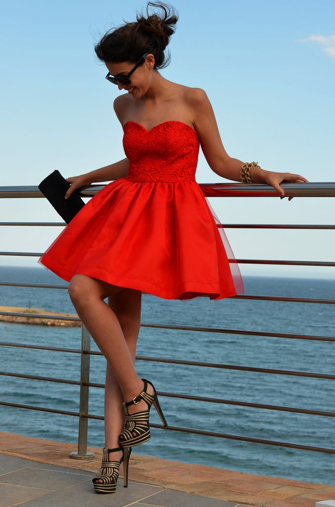 bright red dress www.madamebridal.com