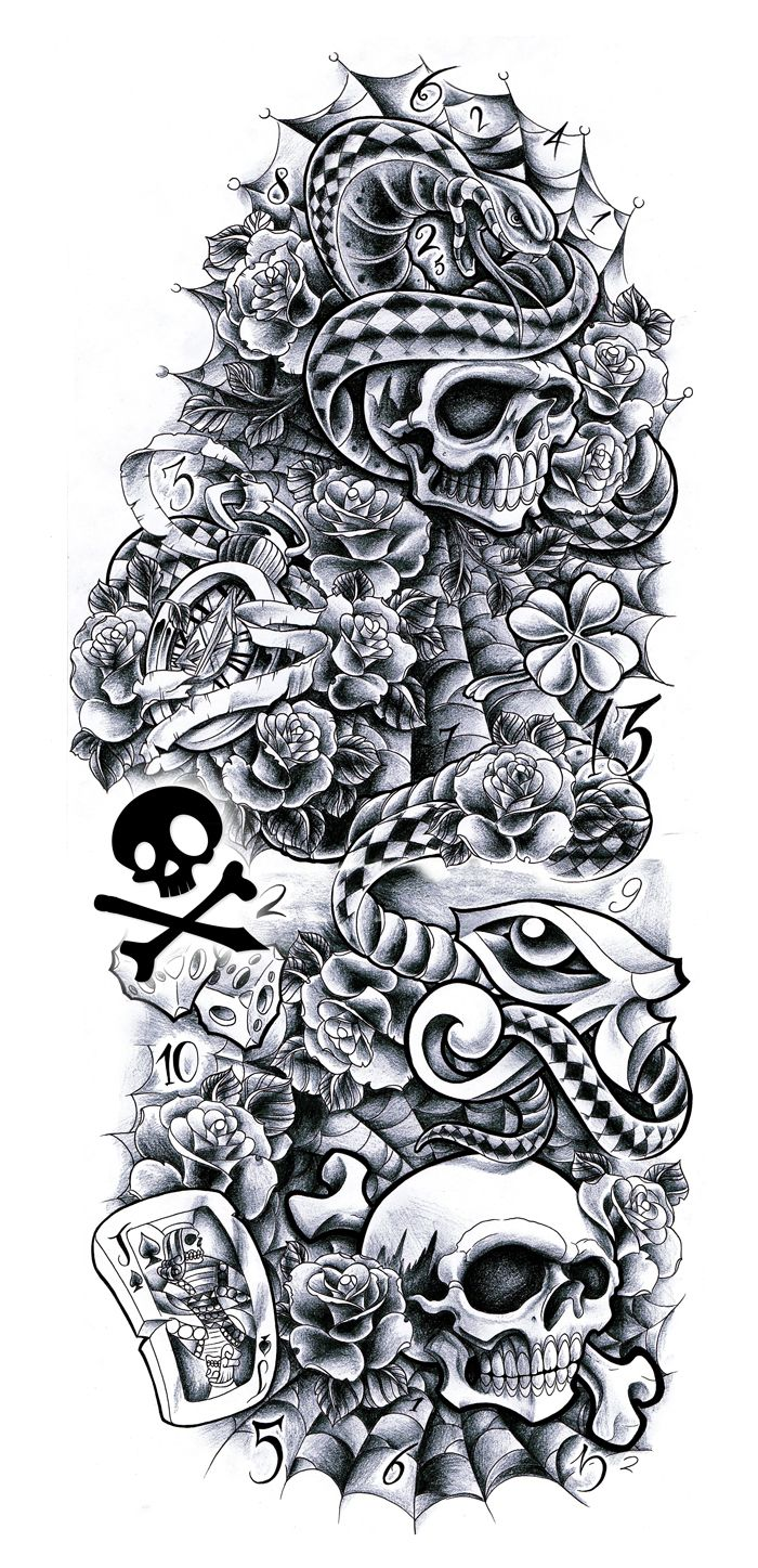 Tattoo Sleeve Sketches: Sleeve Andrea By *WillemXSM On DeviantART