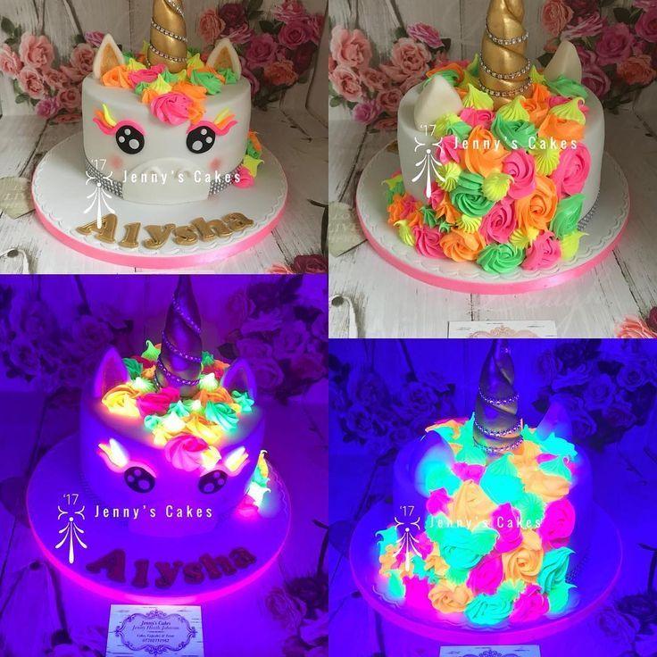 Swell Neon Glow In The Dark Unicorn Birthday Cake Beautifulcakes Cake Birthday Cards Printable Giouspongecafe Filternl
