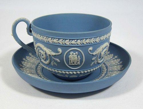 Wedgwood Light Blue Jasper Teacup & Saucer: